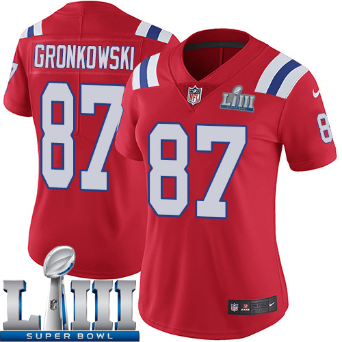 5f21c020564 Women New England Patriots 87 Gronkowski red Nike Vapor Untouchable Limited 2019  Super Bowl LIII NFL