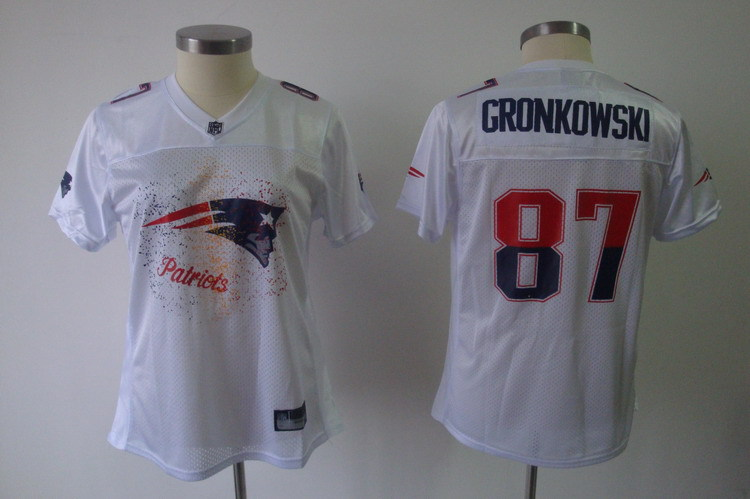 Women New England Patriots 87 Gronkowski white Nike NFL jerseys
