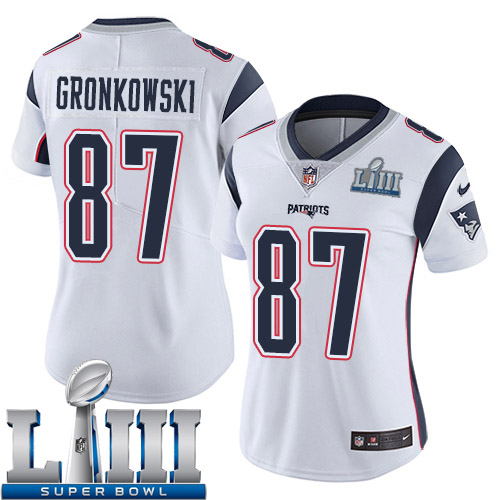 50e550ec124 Women New England Patriots 87 Gronkowski white Nike Vapor Untouchable  Limited 2019 Super Bowl LIII NFL