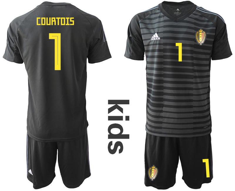 Youth 2018 World Cup Belgium black goalkeeper 1 soccer jersey