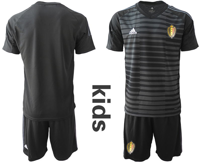 Youth 2018 World Cup Belgium black goalkeeper soccer jersey