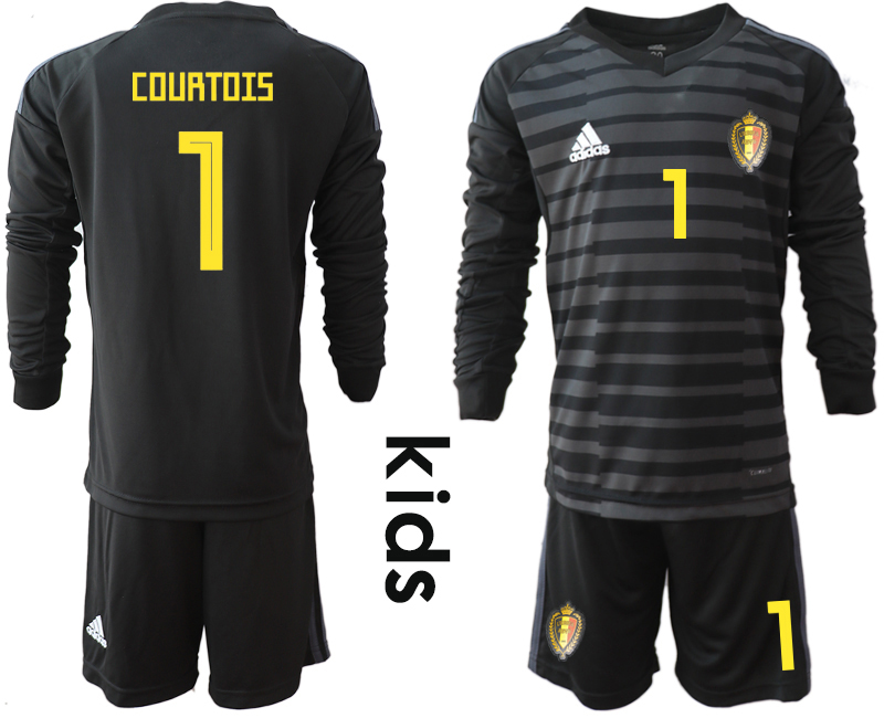 Youth 2018 World Cup Belgium black long sleeve goalkeeper 1 Soccer Jerseys