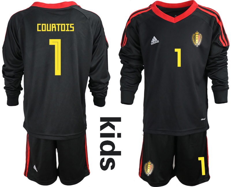 Youth 2018 World Cup Belgium black long sleeve goalkeeper 1 Soccer Jerseys1