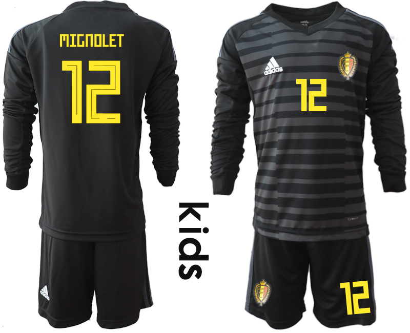 Youth 2018 World Cup Belgium black long sleeve goalkeeper 12 Soccer Jerseys