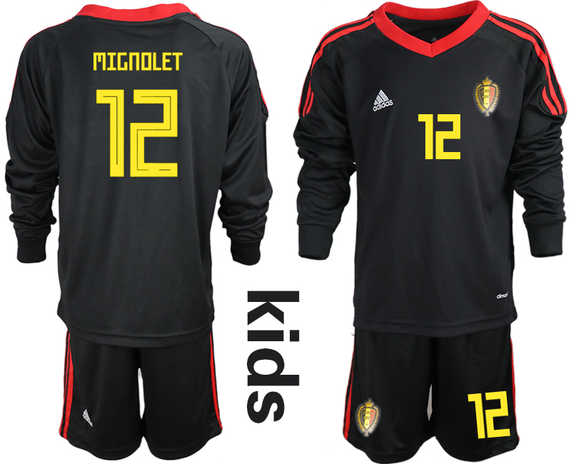Youth 2018 World Cup Belgium black long sleeve goalkeeper 12 Soccer Jerseys1