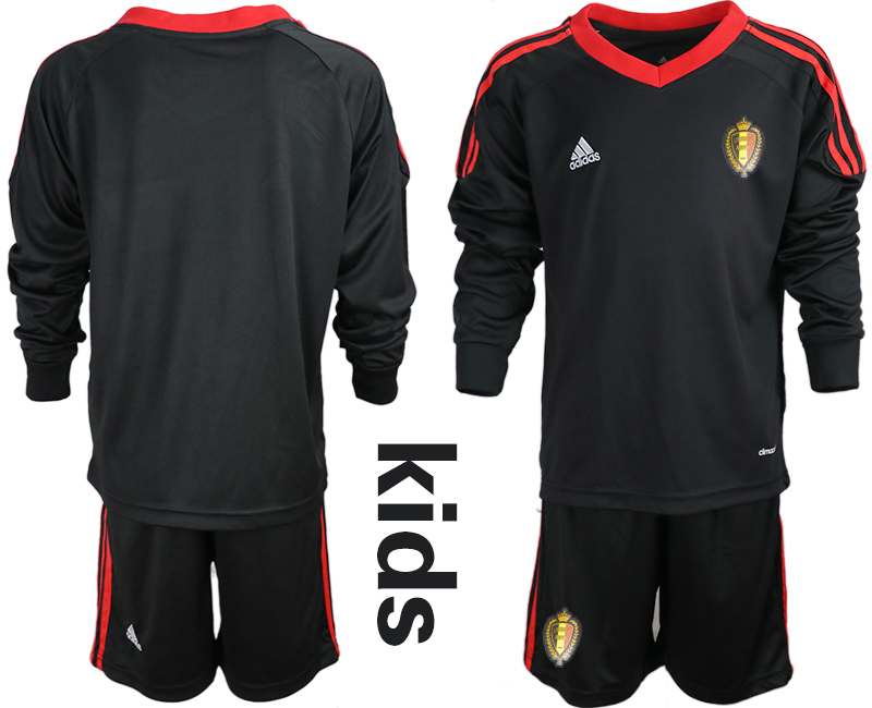 Youth 2018 World Cup Belgium black long sleeve goalkeeper Soccer Jerseys
