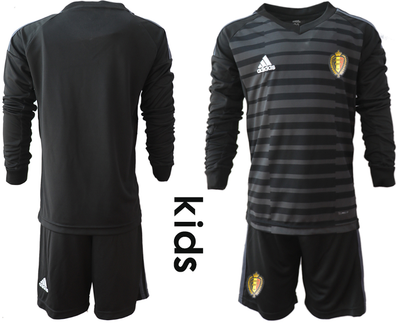 Youth 2018 World Cup Belgium black long sleeve goalkeeper Soccer Jerseys1
