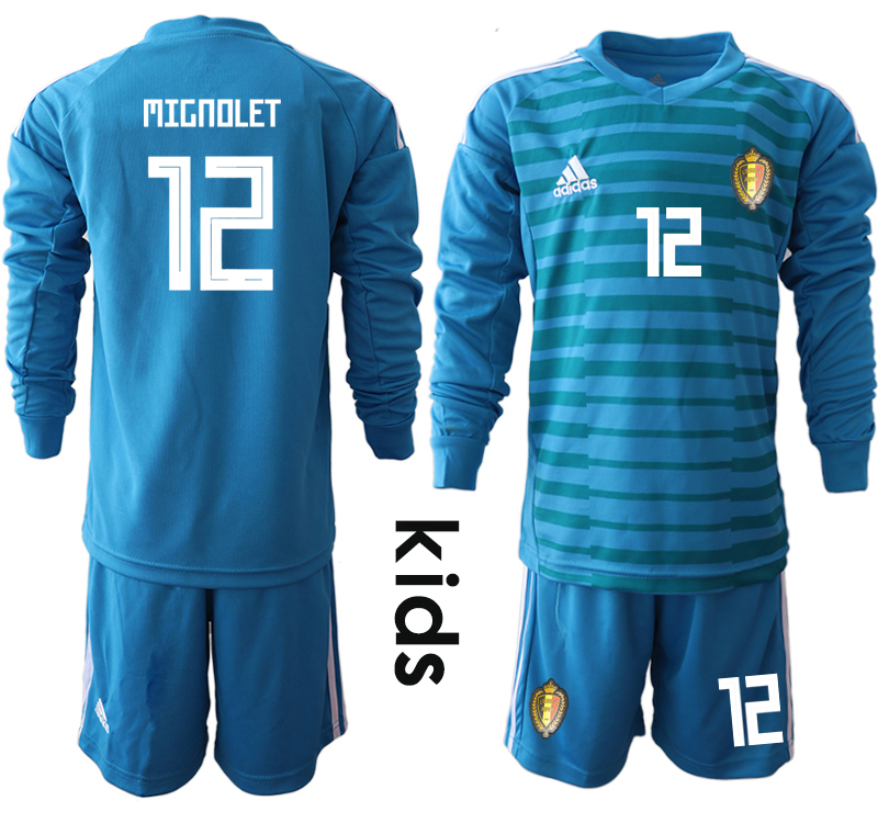 Youth 2018 World Cup Belgium blue goalkeeper Long sleeve 12 Soccer Jerseys