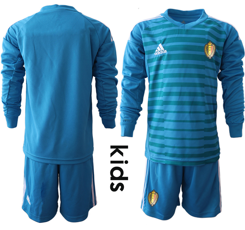 Youth 2018 World Cup Belgium blue goalkeeper Long sleeve Soccer Jerseys