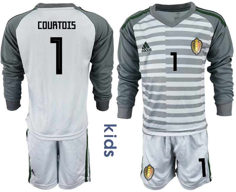 Youth 2018 World Cup Belgium gray long sleeve goalkeeper 1 Soccer Jerseys