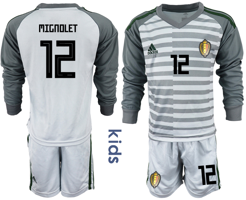 Youth 2018 World Cup Belgium gray long sleeve goalkeeper 12 Soccer Jerseys
