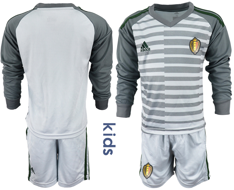 Youth 2018 World Cup Belgium gray long sleeve goalkeeper Soccer Jerseys