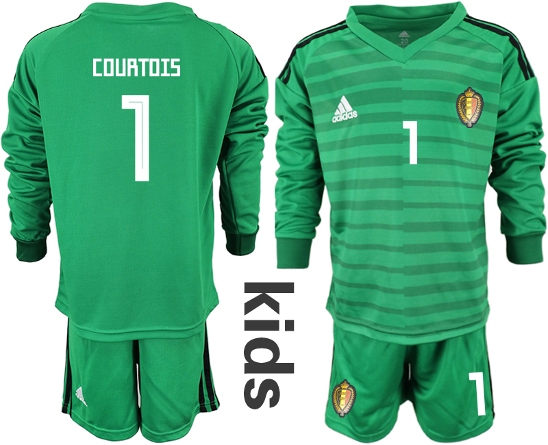 Youth 2018 World Cup Belgium green long sleeve goalkeeper 1 Soccer Jerseys