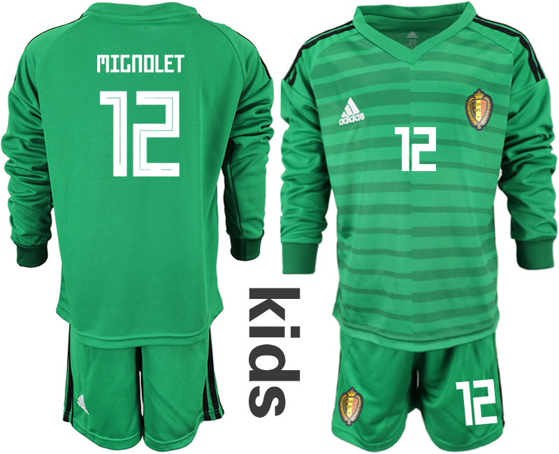 Youth 2018 World Cup Belgium green long sleeve goalkeeper 12 Soccer Jerseys