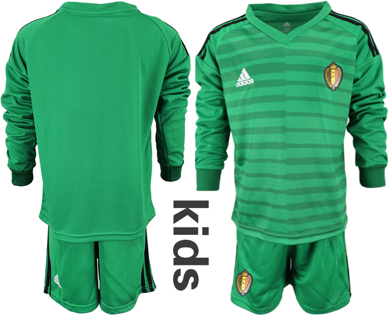 Youth 2018 World Cup Belgium green long sleeve goalkeeper Soccer Jerseys