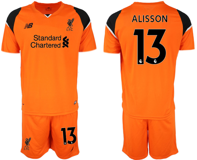 Youth 2018 World Cup Liverpool orenge goalkeeper 13 soccer jersey