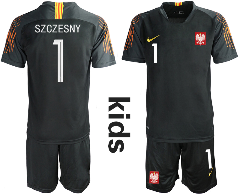 Youth 2018 World Cup Poland black goalkeeper 1 Soccer Jerseys