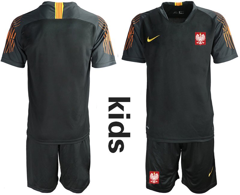 Youth 2018 World Cup Poland black goalkeeper Soccer Jerseys