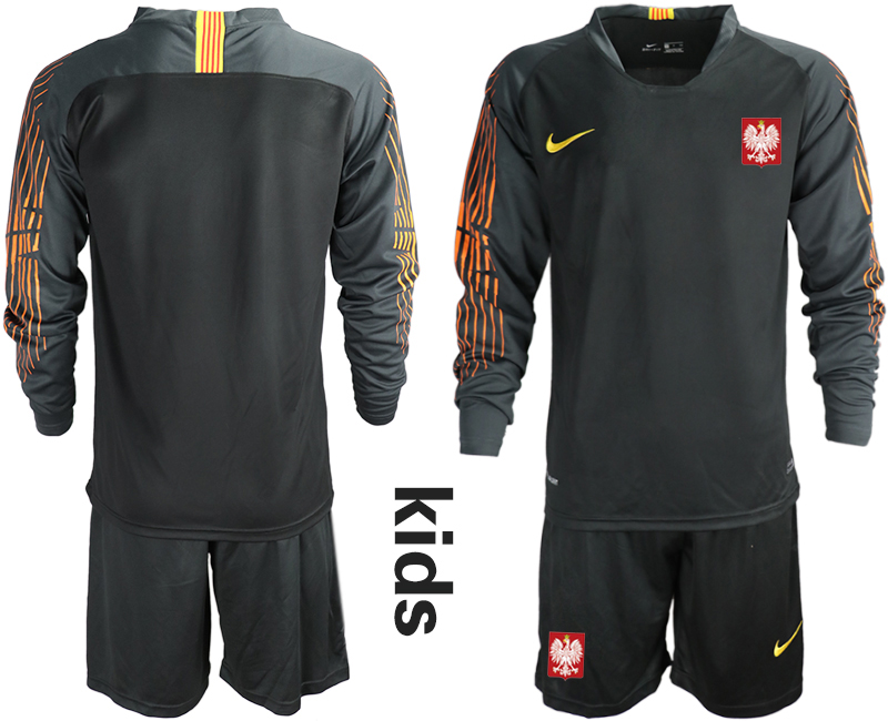 Youth 2018 World Cup Poland black long sleeve goalkeeper Soccer Jerseys
