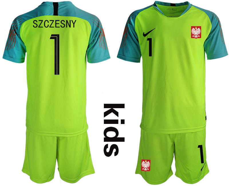 Youth 2018 World Cup Poland fluorescent green goalkeeper 1 Soccer Jerseys