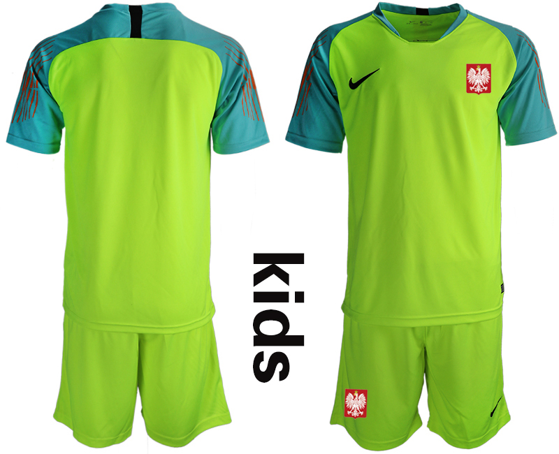 Youth 2018 World Cup Poland fluorescent green goalkeeper Soccer Jerseys