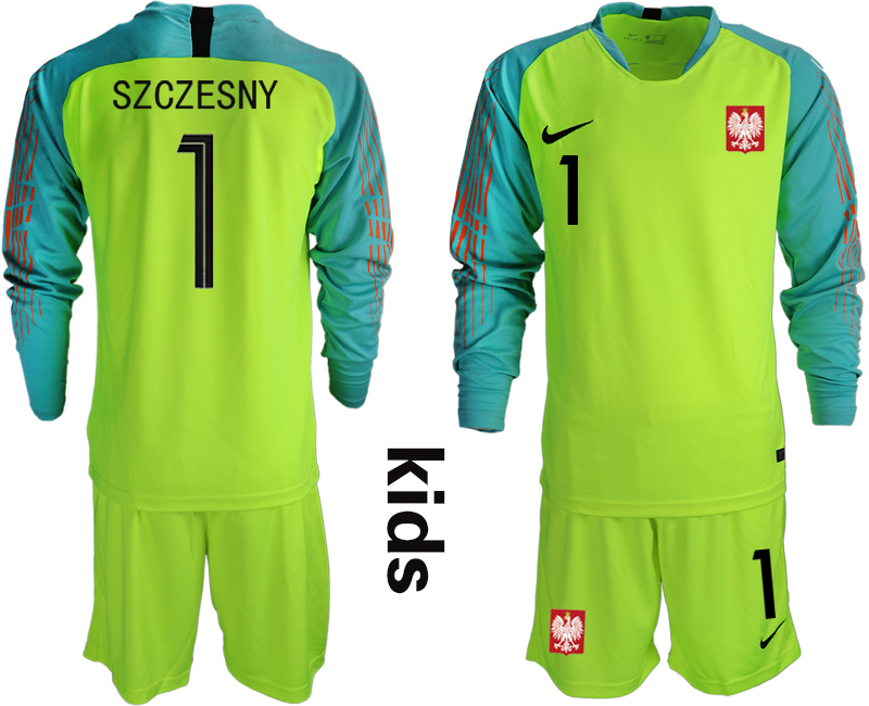Youth 2018 World Cup Poland fluorescent green long sleeve goalkeeper 1 Soccer Jerseys