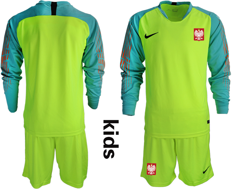 Youth 2018 World Cup Poland fluorescent green long sleeve goalkeeper Soccer Jerseys