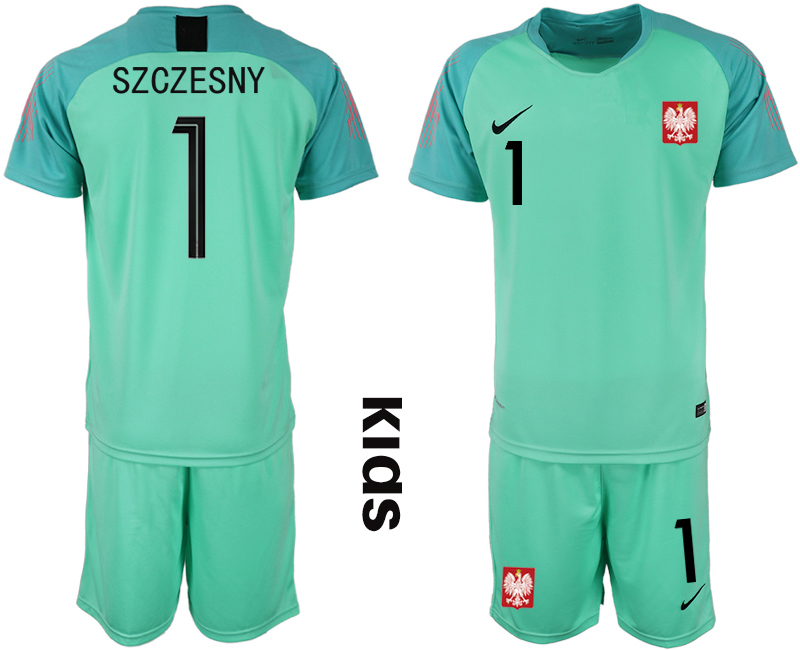 Youth 2018 World Cup Poland green goalkeeper 1 Soccer Jerseys