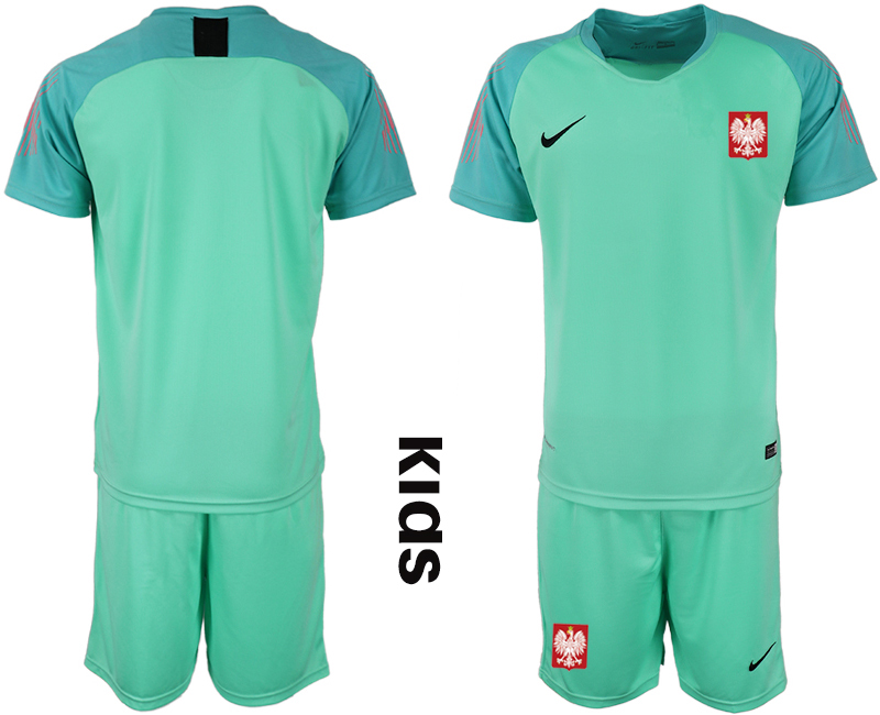 Youth 2018 World Cup Poland green goalkeeper Soccer Jerseys