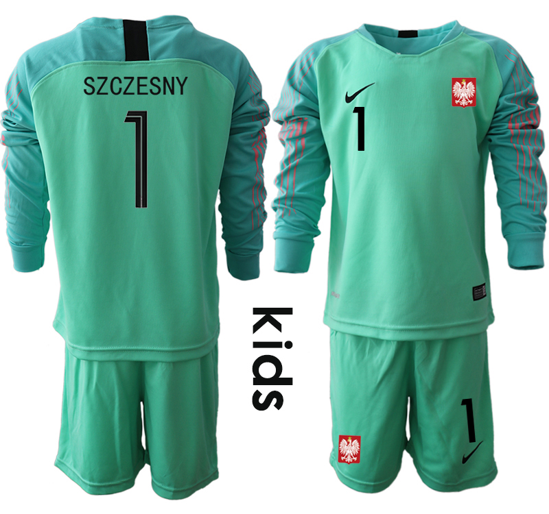 Youth 2018 World Cup Poland green goalkeeper long sleeve 1 Soccer Jerseys