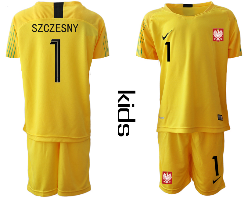 5e4750f0a79 Youth 2018 World Cup Poland yellow goalkeeper 1 Soccer Jerseys