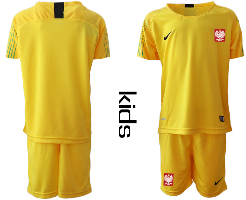 Youth 2018 World Cup Poland yellow goalkeeper Soccer Jerseys
