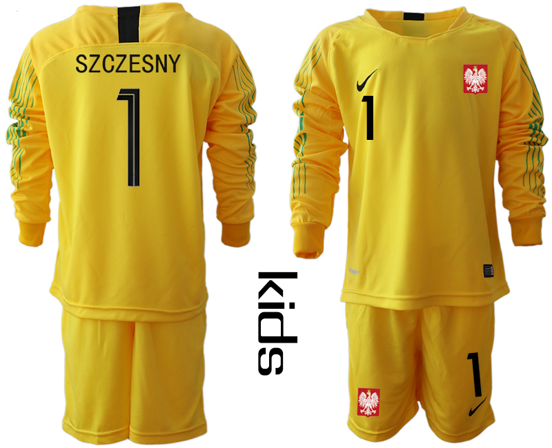 Youth 2018 World Cup Poland yellow goalkeeper long sleeve 1 Soccer Jerseys