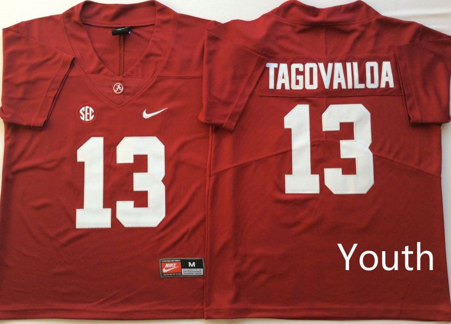 Youth Alabama Crimson Tide 13 Tagovailoa Red Nike NCAA Jerseys