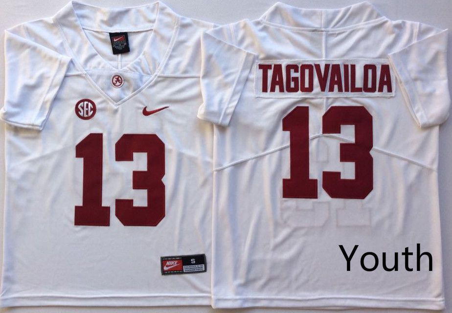 Youth Alabama Crimson Tide 13 Tagovailoa White Nike NCAA Jerseys