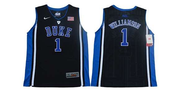 Youth Duke Blue Devils 1 Zion Williamson Black Nike NCAA Jersey