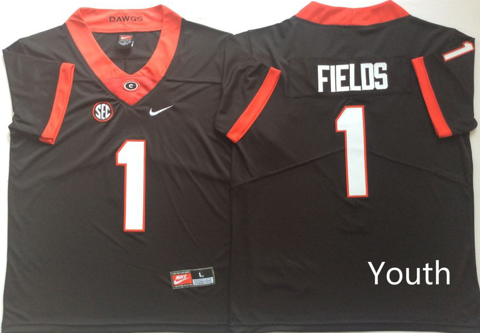 Youth Georgia Bulldogs 1 Fields Black Nike NCAA Jerseys