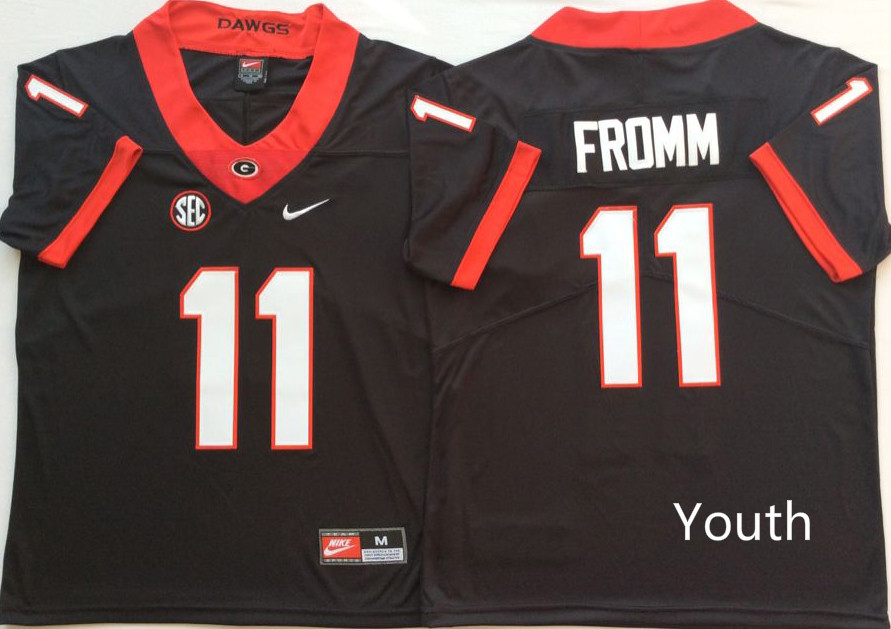 Youth Georgia Bulldogs 11 Fromm Black Nike NCAA Jerseys
