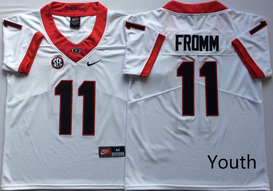 Youth Georgia Bulldogs 11 Fromm White Nike NCAA Jerseys