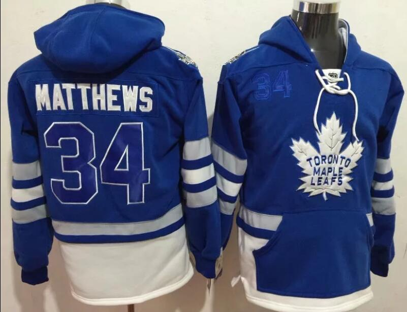 Youth NHL Toronto Maple Leafs 34 Matthews blue Hoodie