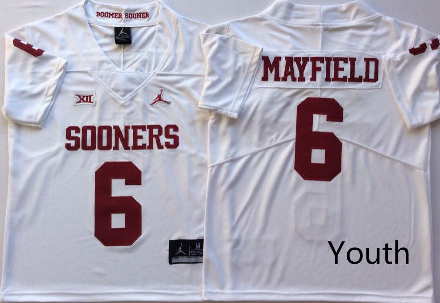 Youth Oklahoma Sooners 6 Mayfield White NCAA Jerseys