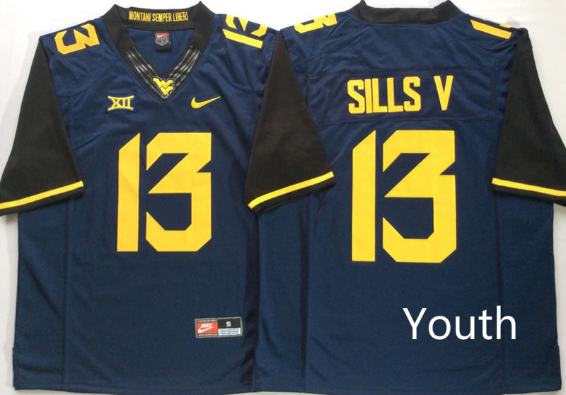 Youth West Virginia Mountaineers 13 Sills V Blue Nike NCAA Jerseys