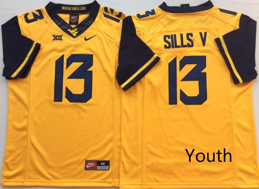 Youth West Virginia Mountaineers 13 Sills V Yellow Nike NCAA Jerseys