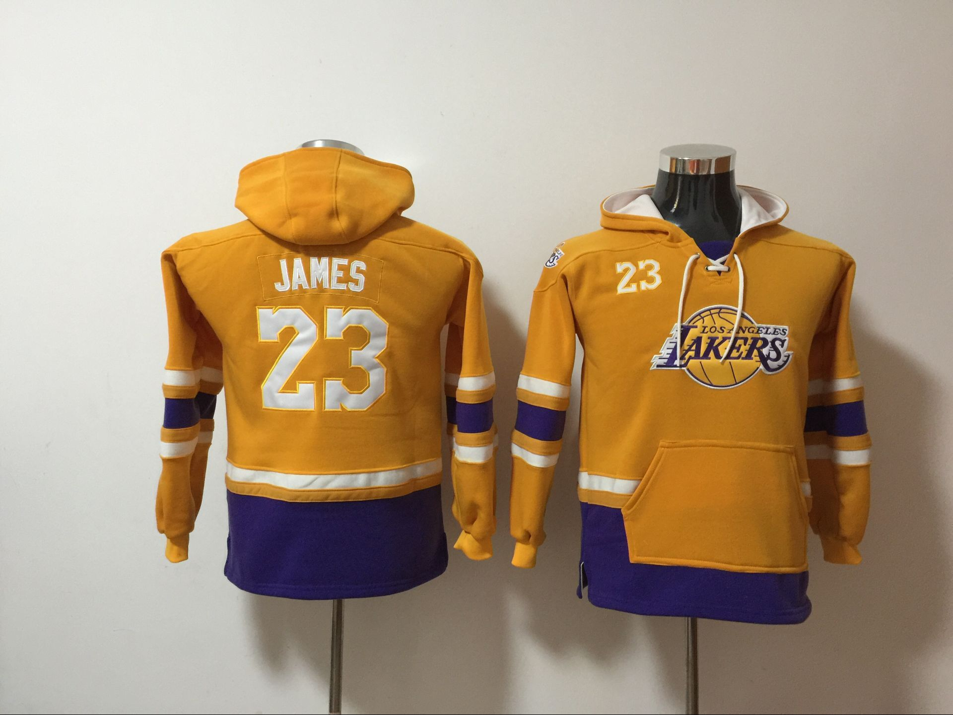 youth NBA Men Los Angeles Lakers 23 James yellow Sweatshirt