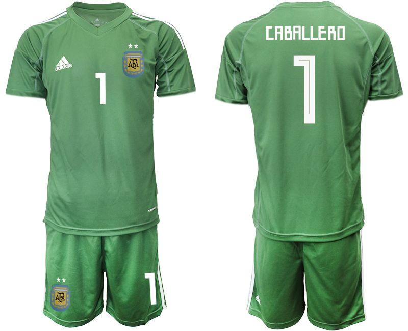 Men 2018 World Cup Argentina army green goalkeeper 1 soccer jersey