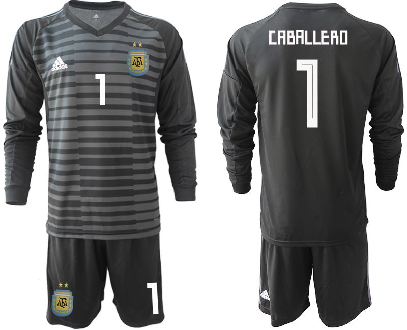 Men 2018 World Cup Argentina black long sleeve goalkeeper 1 soccer jersey