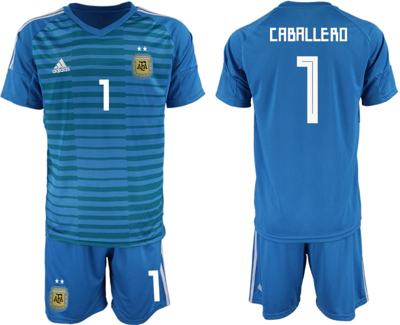 Men 2018 World Cup Argentina blue goalkeeper 1 soccer jersey
