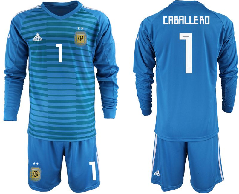 Men 2018 World Cup Argentina blue goalkeeper Long sleeve 1 soccer jersey