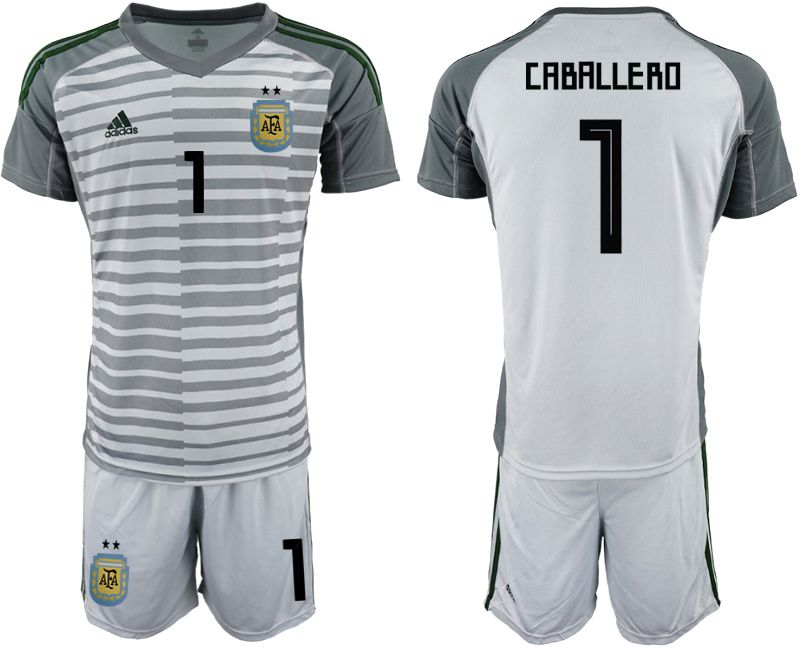 Men 2018 World Cup Argentina gray goalkeeper 1 soccer jersey