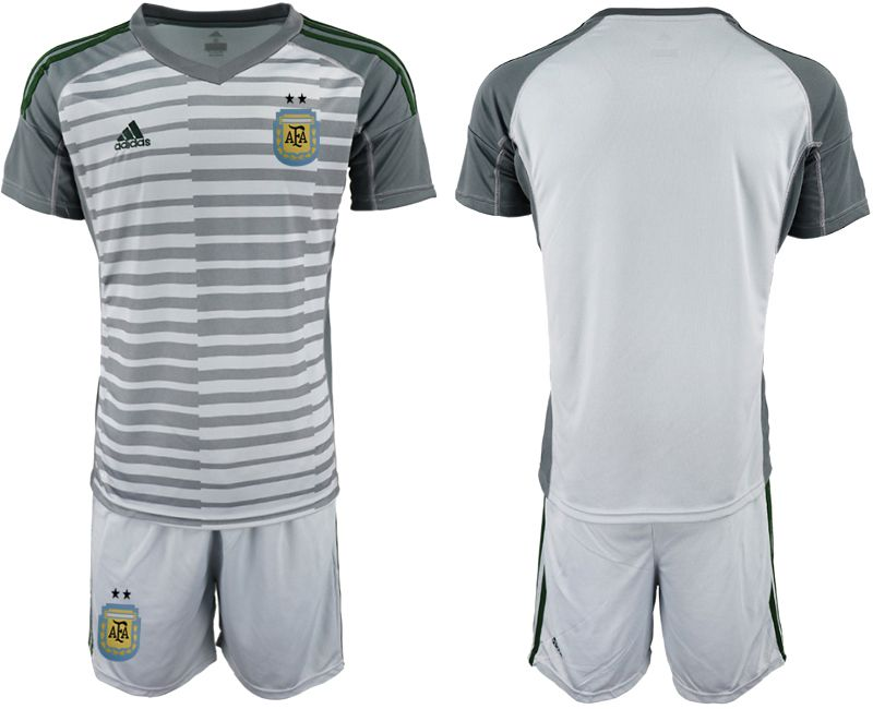 Men 2018 World Cup Argentina gray goalkeeper soccer jersey